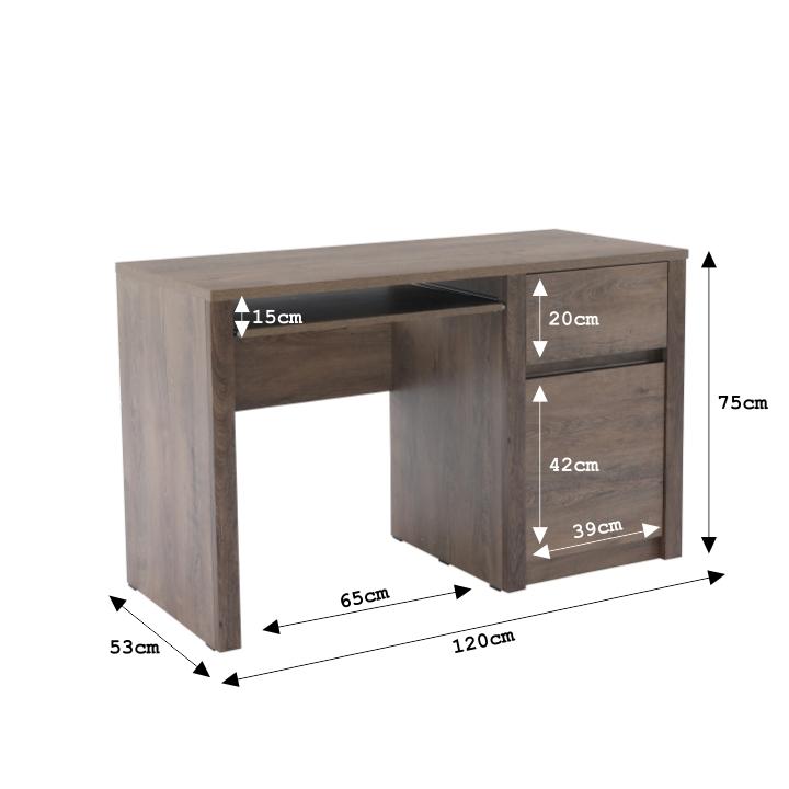 PC stolík s jednou zásuvkou a jednými dverami, dub lefkas, MONTANA B1, s rozmermi