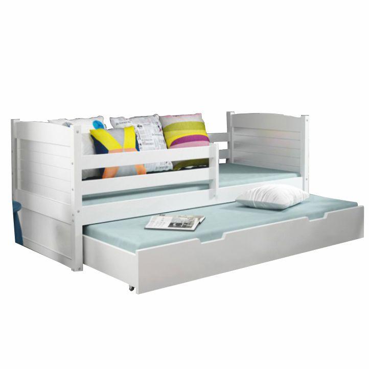 Drevená posteľ s úložným priestorom, biela/biela, na bielom pozadí, KORI 2