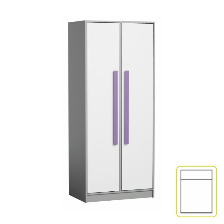 Vešiaková skriňa, sivá/biela/fialová, PIERE P01