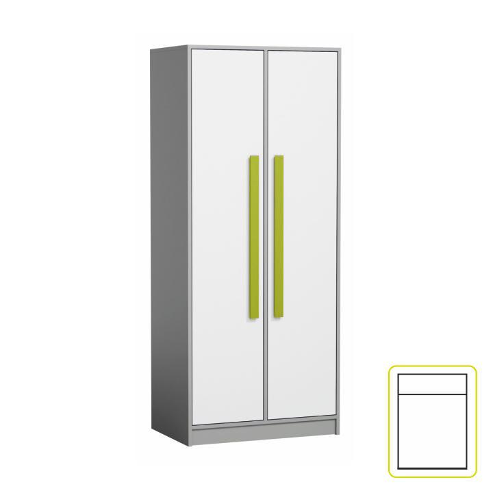 Vešiaková skriňa, sivá/biela/zelená, PIERE P01, na bielom pozadí