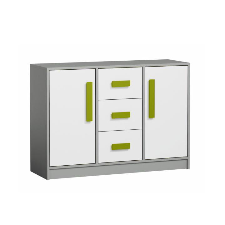 Komoda trojzásuvková dvojdverová, sivá/biela/zelená, PIERE P06, na bielom pozadí