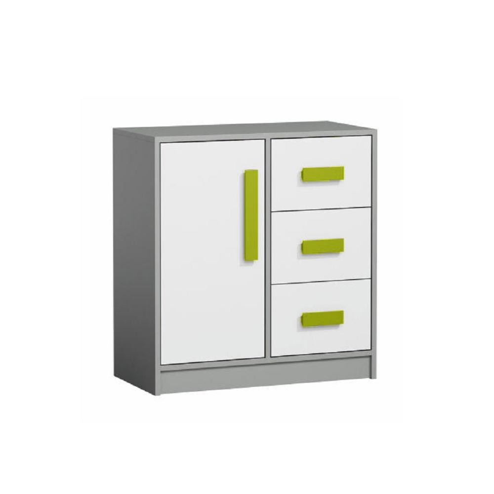 Comodă combinată, gri/alb/verde, PIERE P07