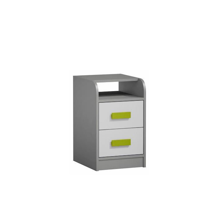 Kontajner k PC stolu, sivá/biela/zelená, PIERE P09, na bielom pozadí