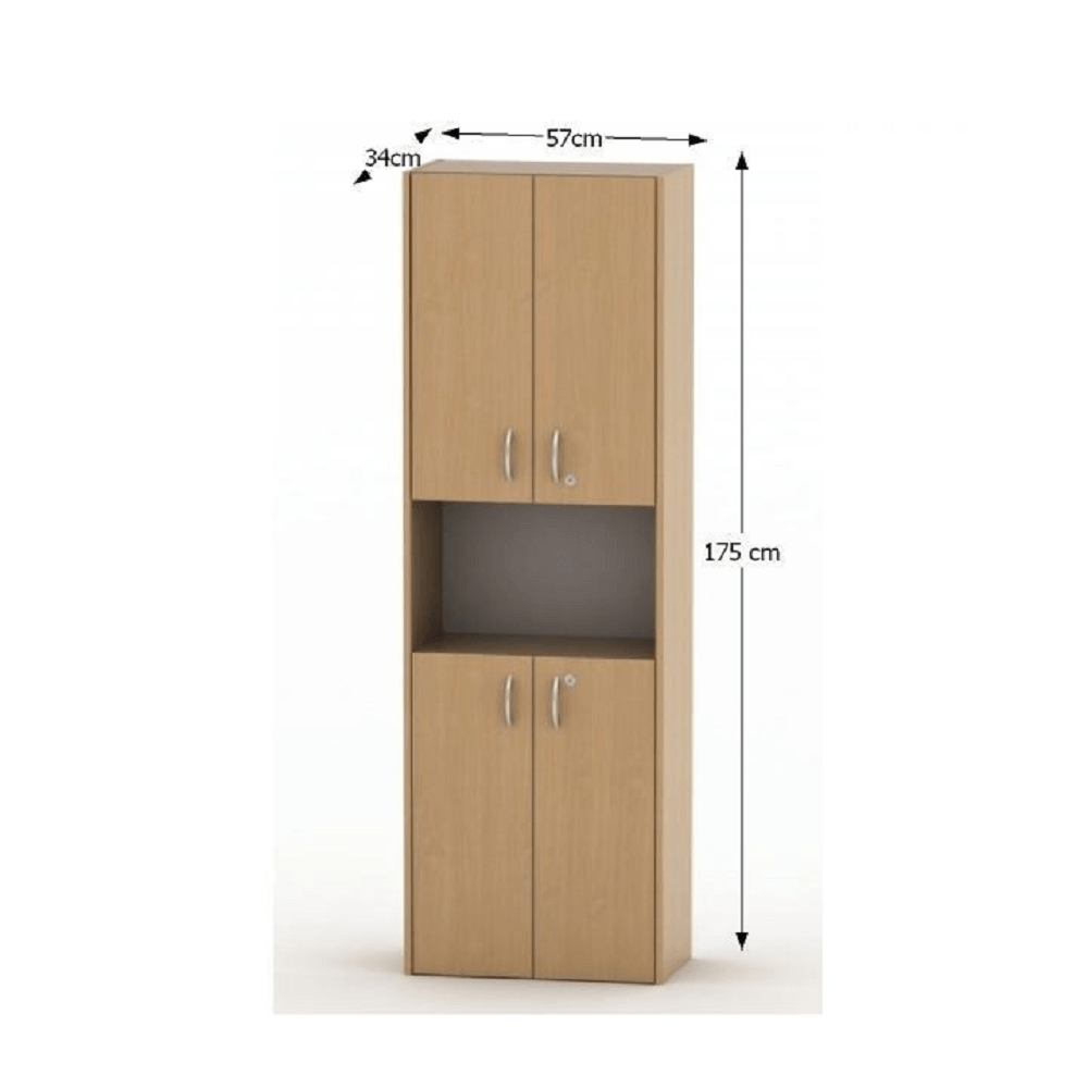 Polcosszekrény ajtókkal, bükk, TEMPO ASISTENT NEW 003