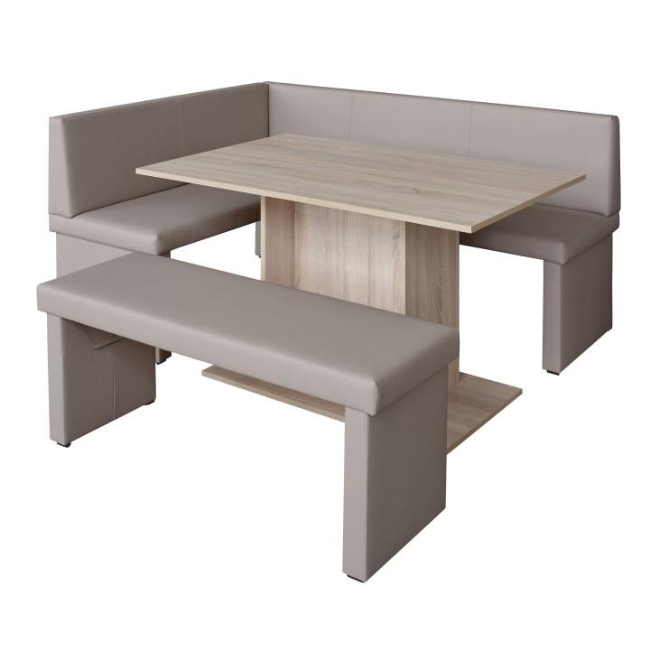 Komplet rohová lavica+stol+lavica ekokoža capucino, L - prevedenie, MODERN, na bielom pozadí