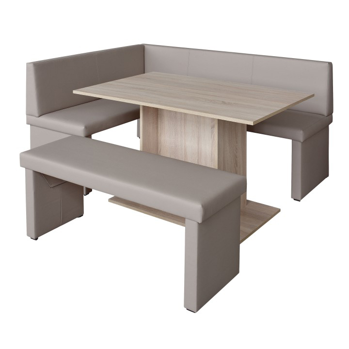 Set dining, cappuccino/stejar sonoma, model stânga, MODERN