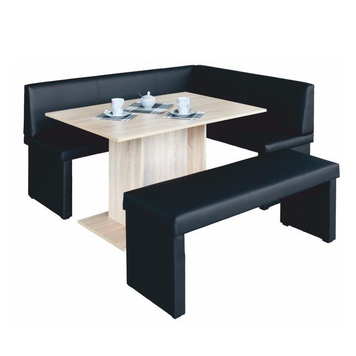 komplet rohová lavica+stol+lavica ekokoža čierna, P - prevedenie, MODERN, na bielom pozadí