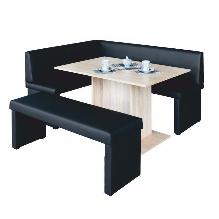 komplet rohová lavica+stol+lavica ekokoža čierna, L - prevedenie, MODERN