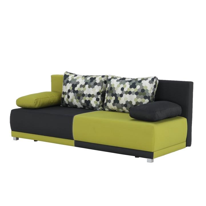 Pohovka rozkladacia, s úložným priestorom, sivá/zelená/vzor vankúše, SPIKER