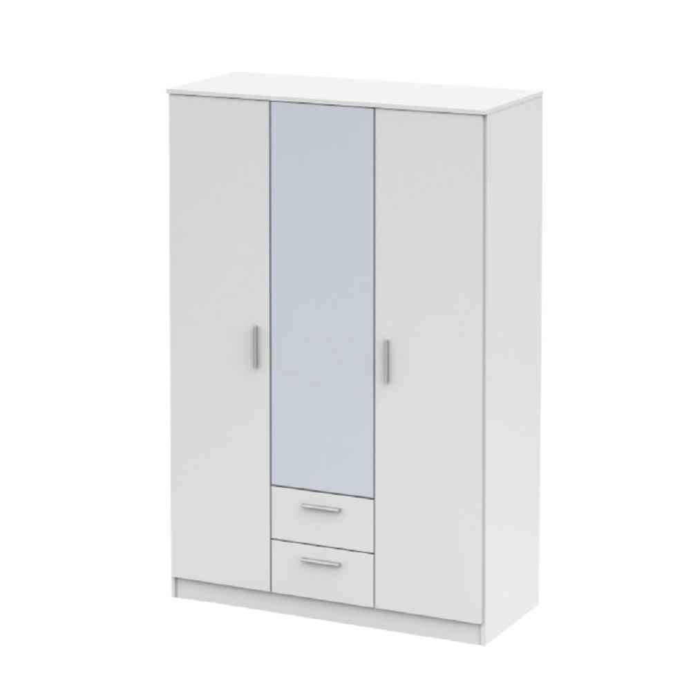 Háromajtós szekrény tükörrel, fehér, NOKO-SINGA 82