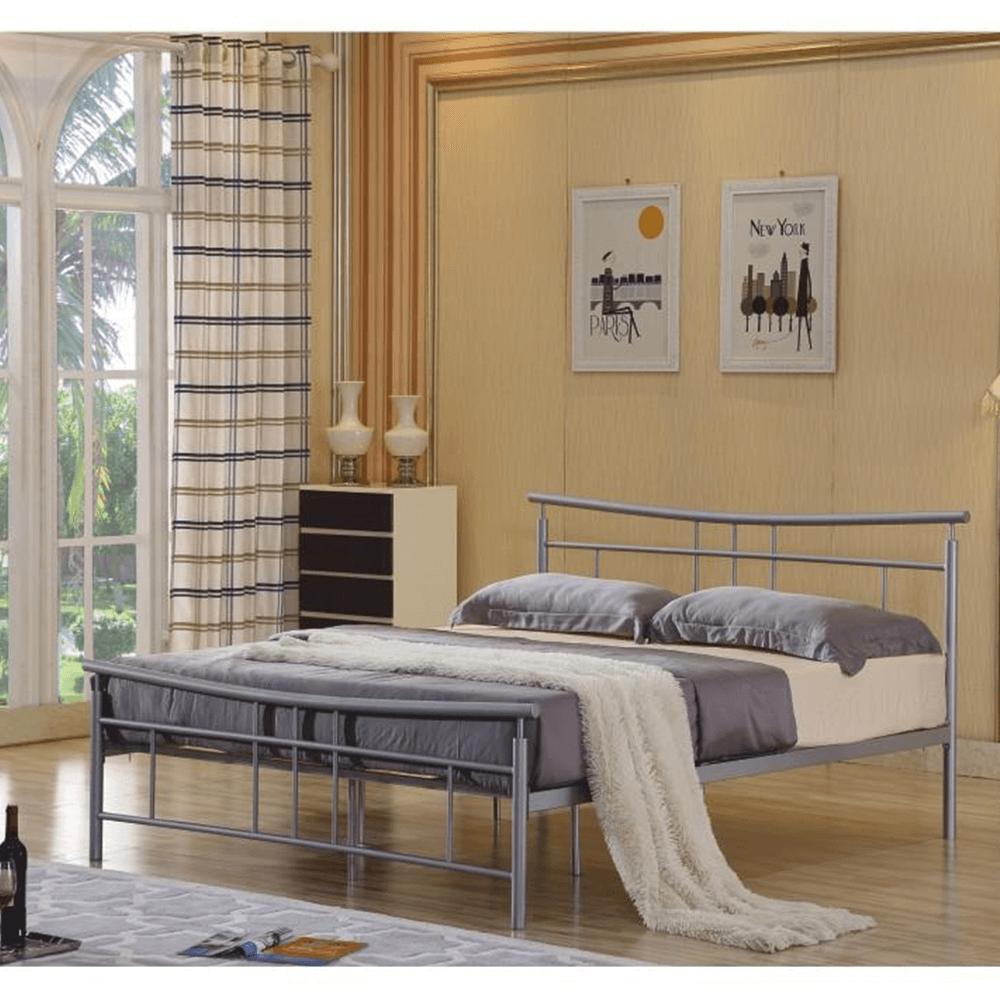 ágy ágyráccsal, ezüst fém, 180x200, DORADO