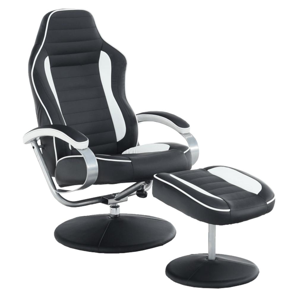 Relaxációs fotel, fehér/fekete, ALDAMIR