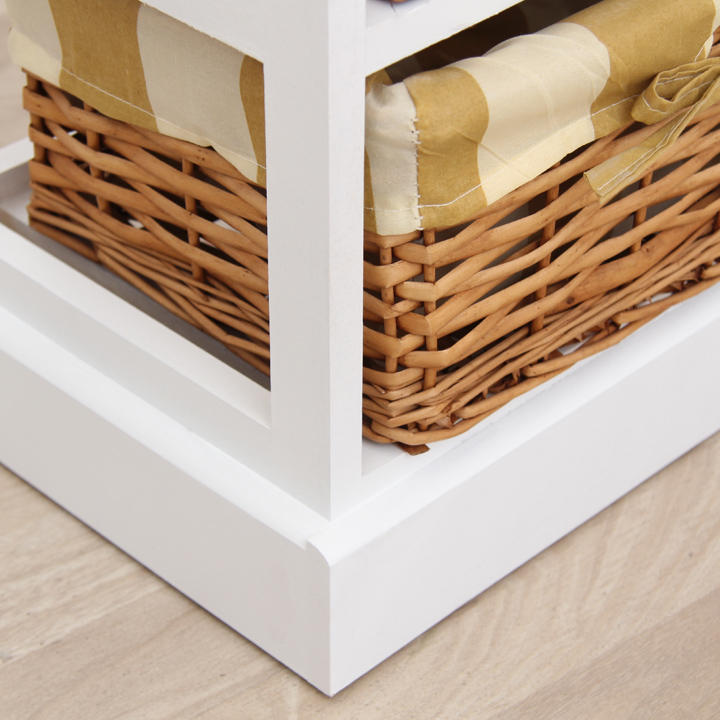 Komoda, 6 prútených košíkov, biela / medová, detail na materiál, farbu, GINGER 1