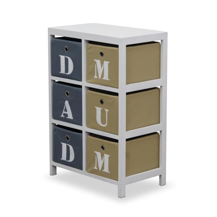 Komoda, 6 zásuvková, biela / krémová / sivá, DAD & MUM