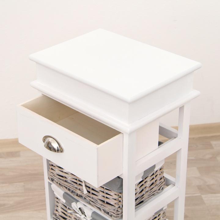 Komoda, biela / sivá, 3 prútené košíky, detail na materiál, farbu, MATIAS 3