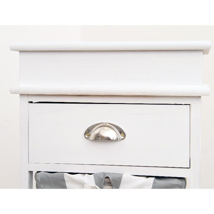 Komoda, biela / sivá, 3 prútené košíky, detail na šuplík, MATIAS 3