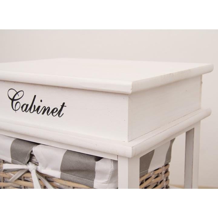 Komoda, 4 košíková, sivá / biela, detail na materiál, farbu, MANON 4
