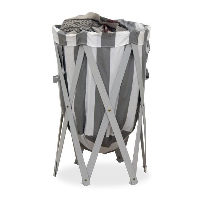 Skládací kôš na prádlo, biela / sivá, DZIMBO 4