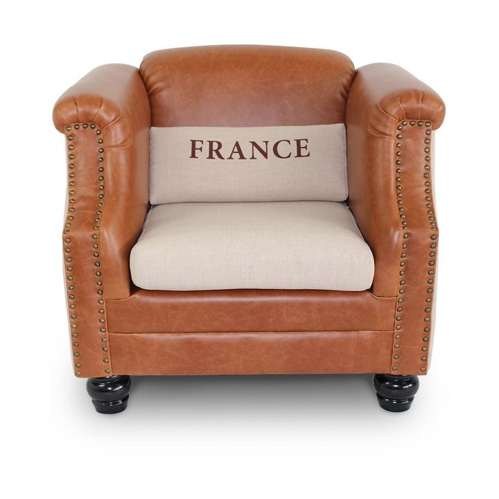 Kreslo, béžové látka/hnedá koža, na bielom pozadí, FRANCE
