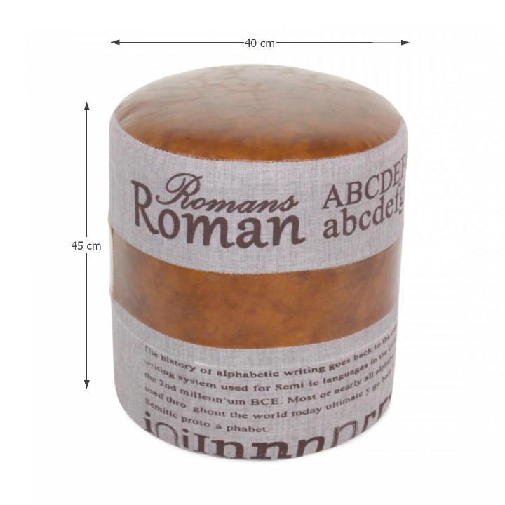 Taburet, tmavo hnedá/sivá, ROMAN 1, s rozmermi