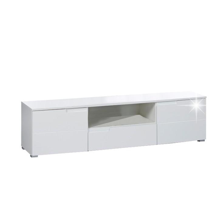 TV stolík/skrinka, biela extra vysoký lesk, SPICE RTV