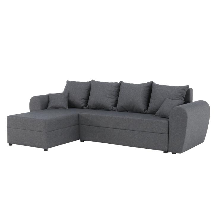 Rohová univerzálna sedacia súprava, rozklad + úložný priestor, látka sivá, ROMA NEW