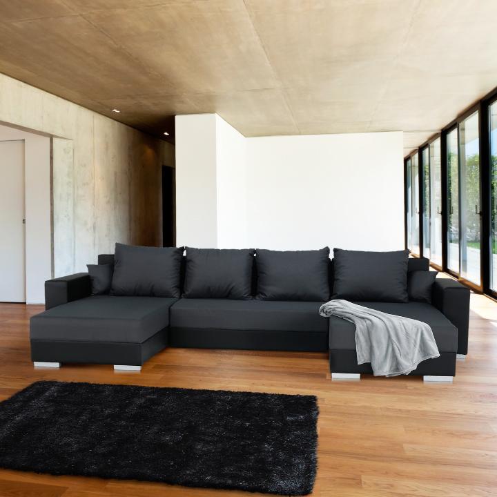 Rozkladacia sedacia súprava, čierna/sivá Nemo 16, ekokoža, ESTEVAN, interiér