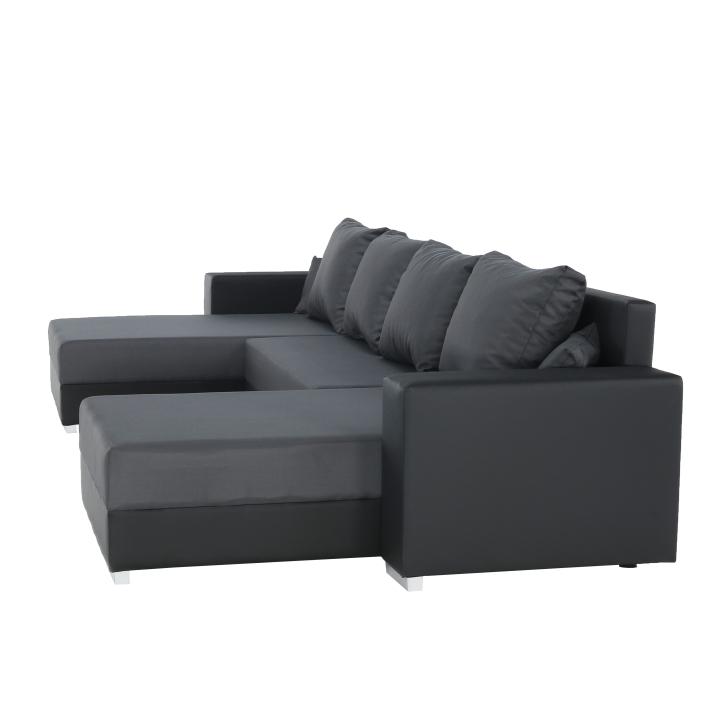 Rozkladacia sedacia súprava, čierna/sivá Nemo 16, ekokoža, ESTEVAN, detail na bok