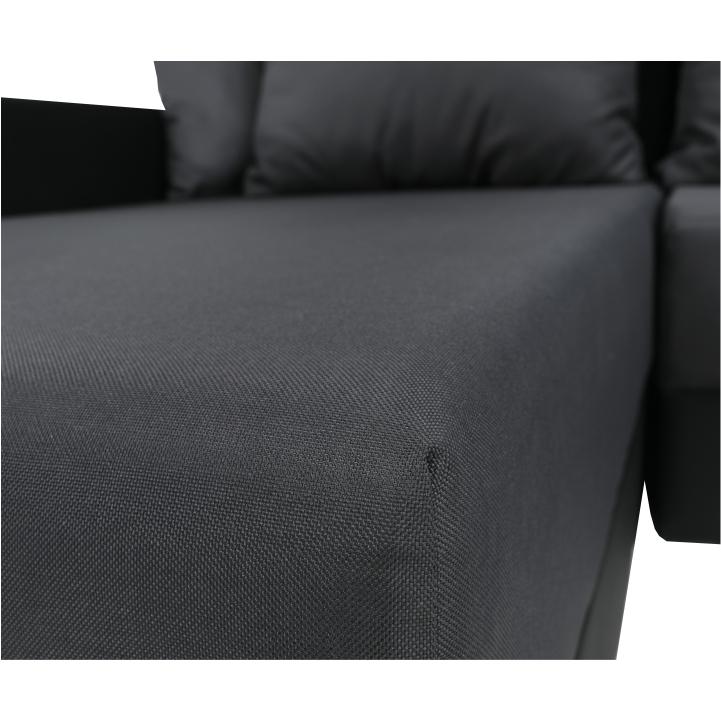 Rozkladacia sedacia súprava, čierna/sivá Nemo 16, ekokoža, ESTEVAN, detail na poťah