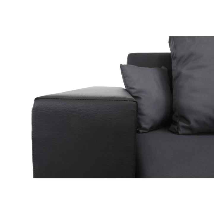 Rozkladacia sedacia súprava, čierna/sivá Nemo 16, ekokoža, ESTEVAN, detail na opierku ruky