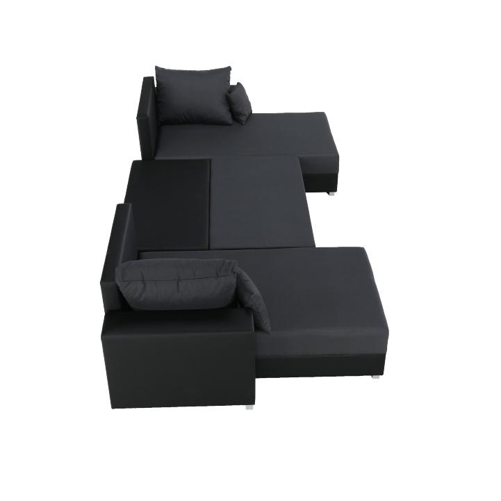 Rozkladacia sedacia súprava, čierna/sivá Nemo 16, ekokoža, ESTEVAN, pohľad z hora na bok sedačky