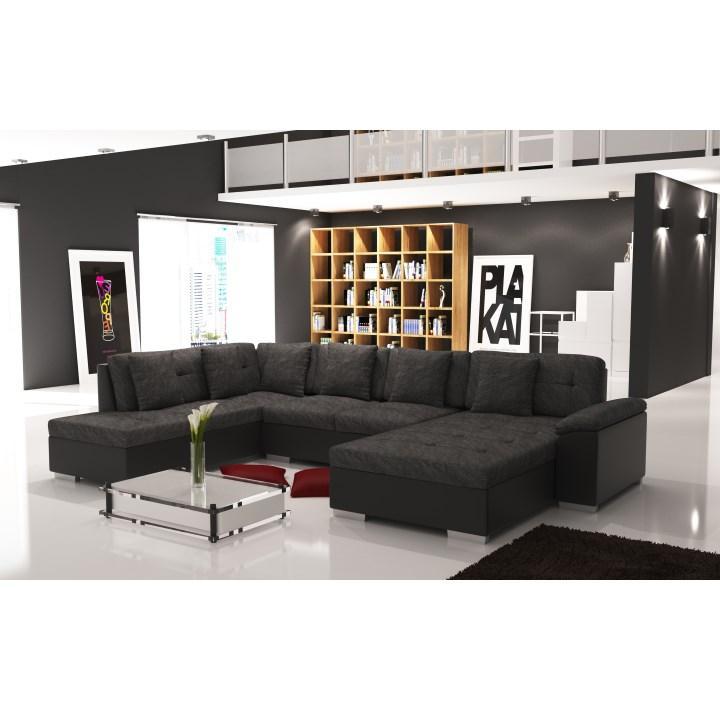 Elegantná sedacia súprava v tvare U, ľavé prevedenie, ekokoža čierna / šenil Berlin 02, fotka v interiéri, ALMA