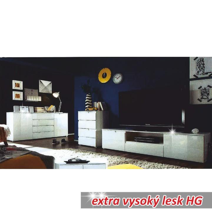 4 zásuvková komoda, biela extra vysoký lesk HG, SPICE 4, interiér