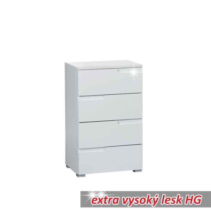 4 zásuvková komoda, biela extra vysoký lesk HG, SPICE 4