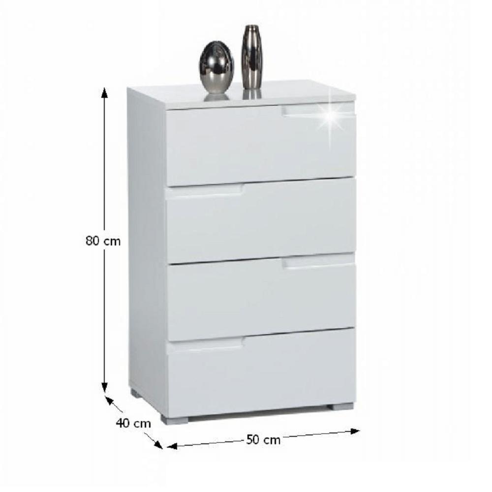 Comodă 4 sertare, alb extra lucios HG, SPICE 4