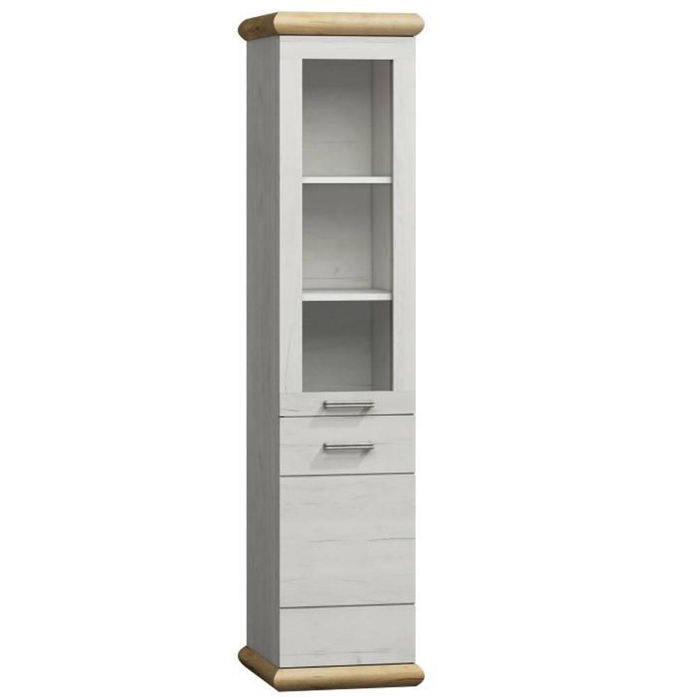Vitrines szekrény K - 4, tölgy fehér / tölgy arany, KATY K - 04