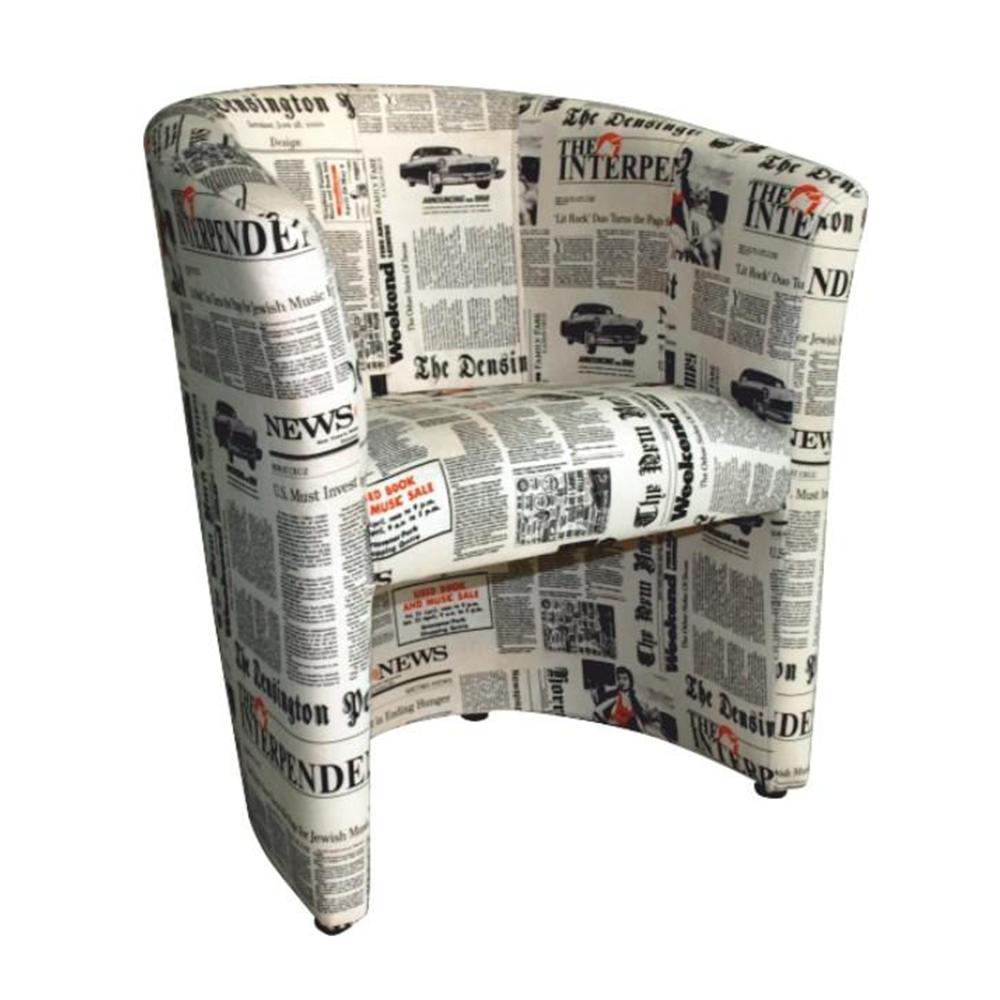 Fotoliu de club, material textil motiv ziare, CUBA