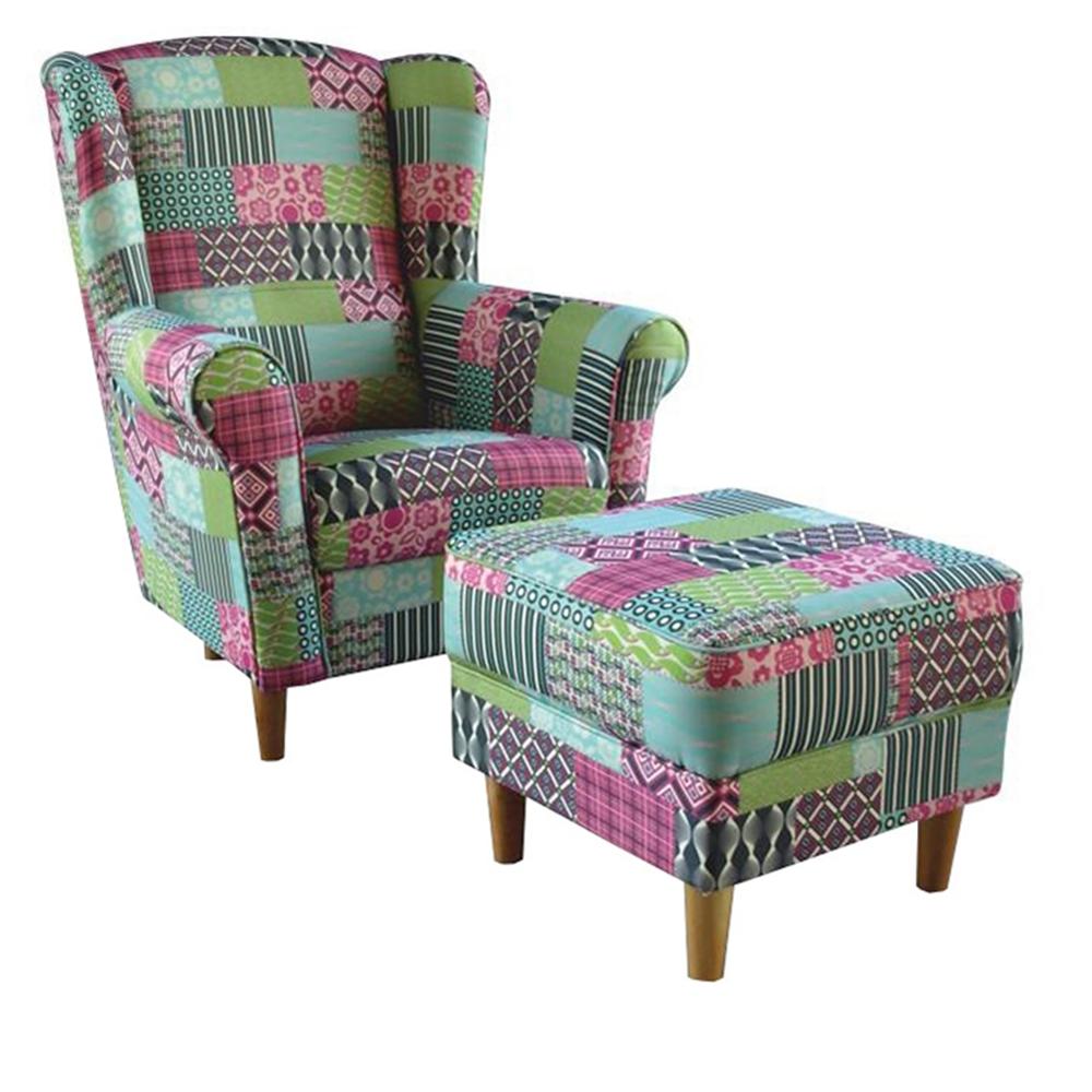 Fotoliu cu taburet, material textil în stilul patchwork M1, ASTRID