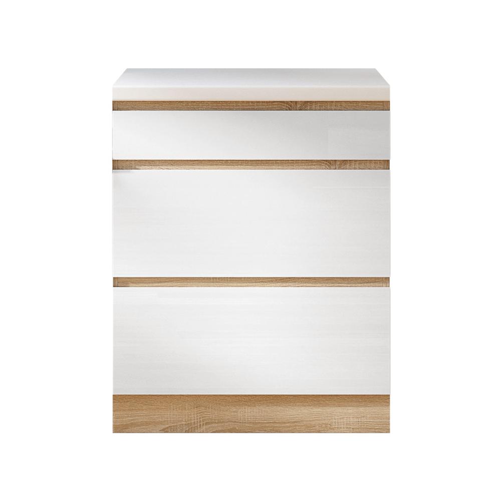 Alsószekrény három fiókkal D60, fehér magas fényű HG, LINE