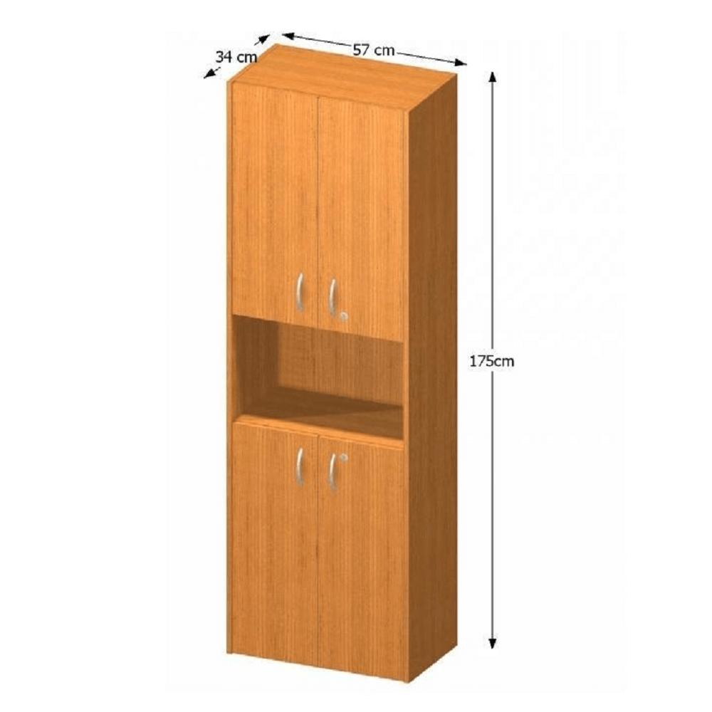 Polcos szekrény ajtóval, cseresznye, TEMPO ASISTENT NEW 003