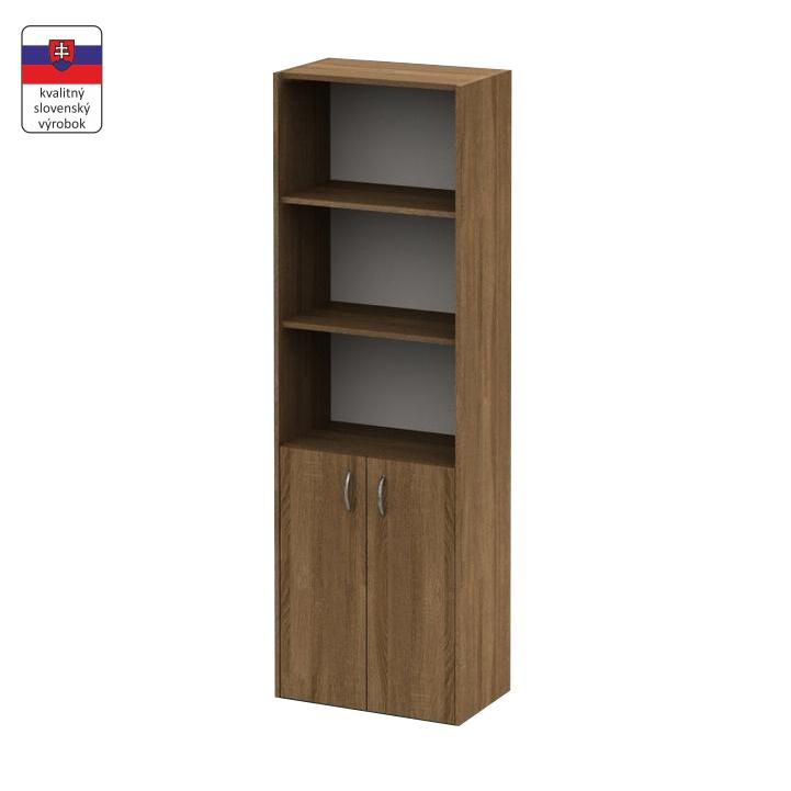 Regál so skrinkou so zámkom, bardolino tmavé, TEMPO ASISTENT NEW 002, slovenský výrobok