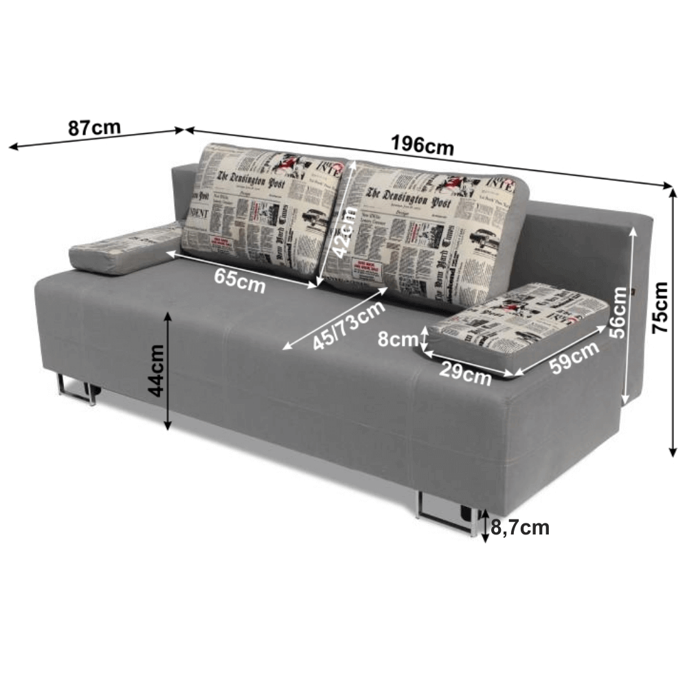 Kinyitható kanapé rakodótérrel, szürke/minta, ELIZE