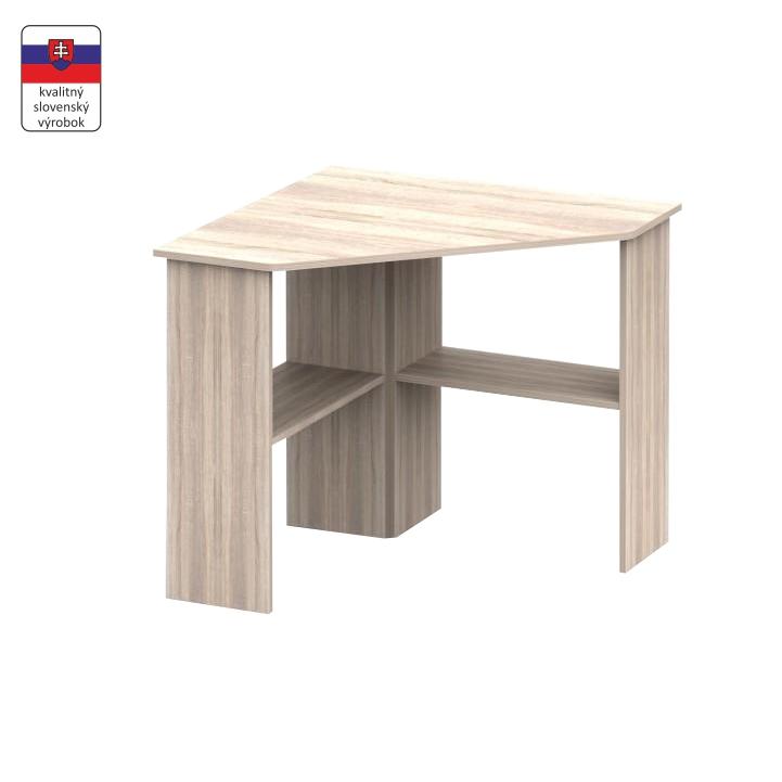 PC stôl, rohový, dub sonoma, RONY NEW, na bielom pozadí