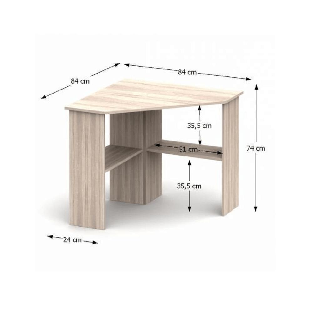 PC stôl, rohový, dub sonoma, RONY NEW