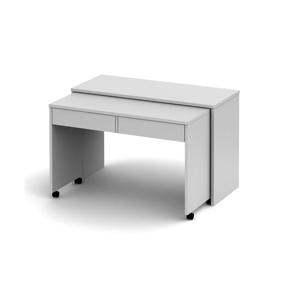Nyitható PC asztal fiókokkal, fehér, VERSAL NEW