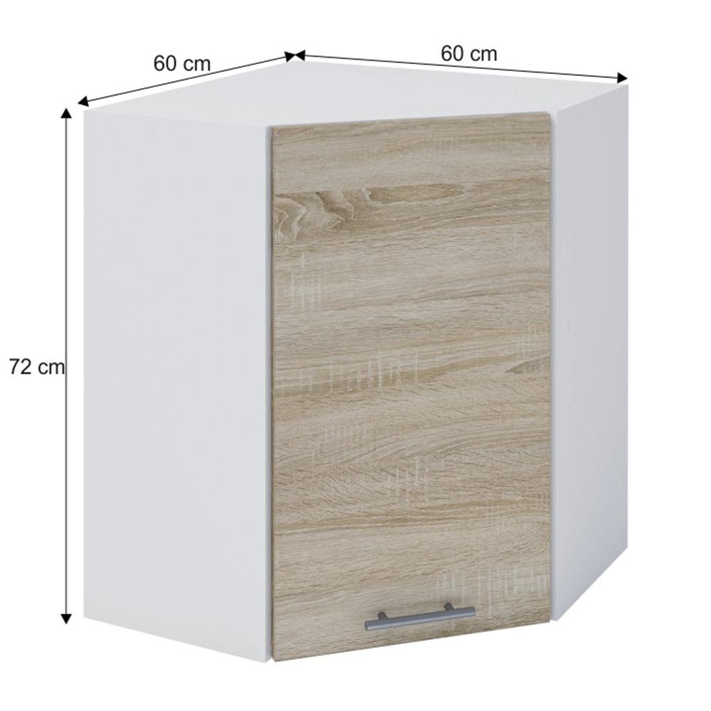 Dulap superior de colţ, stejar sonoma/alb, FABIANA W - 60N