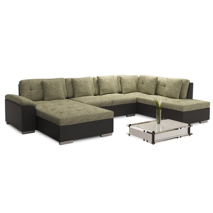 Elegantná sedacia súprava v tvare U, pravé prevedenie, ekokoža čierna / šenil Berlin 03, ALMA