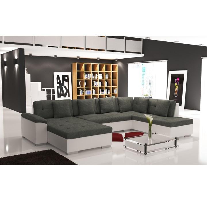 Elegantná sedacia súprava v tvare U, ľavé prevedenie, ekokoža biela / šenil Berlin 01, fotka v interiéri, ALMA