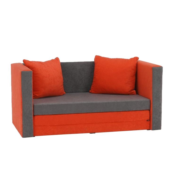 Rozkladacia pohovka, oranžová a sivá látka, s vankúšmi, KATARINA NEW