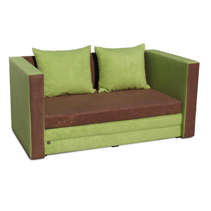 Rozkladacia pohovka, hnedá a zelená látka, s vankúšmi, na bielom pozadí, KATARINA NEW